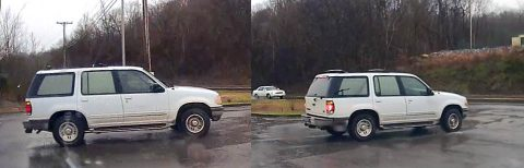 Montgomery County Sheriff's Office asks public's assistance in finding a stolen 1995 white Ford Explorer.