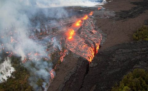 ECOSTRESS's precise temperature measurements could be helpful for other things besides studying plants' heat stress, such as spotting new volcanic fissures and hotspots during an eruption. (USGS)