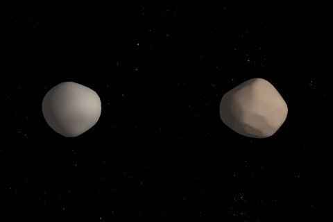 Artist's concept of what binary asteroid 2017 YE5 might look like. The two objects showed striking differences in radar reflectivity, which could indicate that they have different surface properties. (NASA/JPL-Caltech)