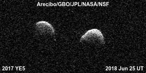 Bi-static radar images of the binary asteroid 2017 YE5 from the Arecibo Observatory and the Green Bank Observatory on June 25. The observations show that the asteroid consists of two separate objects in orbit around each other. (Arecibo/GBO/NSF/NASA/JPL-Caltech)
