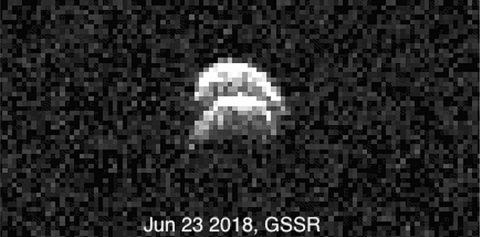 Radar images of the binary asteroid 2017 YE5 from NASA's Goldstone Solar System Radar (GSSR). The observations, conducted on June 23, 2018, show two lobes, but do not yet show two separate objects. (GSSR/NASA/JPL-Caltech)
