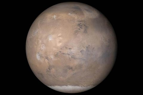 The view of Mars shown here was assembled from MOC daily global images obtained on May 12th, 2003. (NASA/JPL/Malin Space Science Systems)