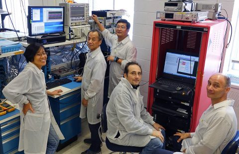 NASA's new Plankton, Aerosol, Cloud, ocean Ecosystem, or PACE, mission will be the first space mission to use a new communication technology. From left to right are the engineers helping to build the mission: Nga Cao, Steve Feng, Wei Lu, Chris Zincke, and Zoran Kahric. (NASA)