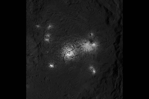 This close-up image of the Vinalia Faculae in Occator Crater was obtained by NASA's Dawn spacecraft in its second extended mission, from an altitude as low as 21 miles (34 kilometers). (NASA/JPL-Caltech/UCLA/MPS/DLR/IDA)