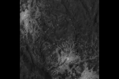 This close-up image of the Vinalia Faculae in Occator Crater was obtained by NASA's Dawn spacecraft on June 14, 2018 from an altitude of about 24 miles (39 kilometers). (NASA/JPL-Caltech/UCLA/MPS/DLR/IDA)