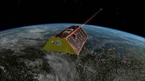 Artist's rendering of the twin spacecraft of the Gravity Recovery and Climate Experiment Follow-On (GRACE-FO) mission, scheduled to launch in May. GRACE-FO will track the evolution of Earth's water cycle by monitoring changes in the distribution of mass on Earth. (NASA/JPL-Caltech)