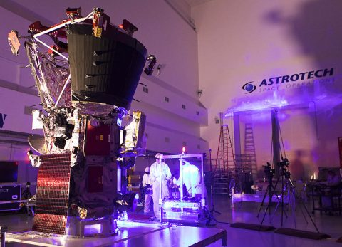 In the Astrotech processing facility in Titusville, Florida, near NASA's Kennedy Space Center, on Tuesday, June 5, 2018, technicians and engineers perform light bar testing on NASA's Parker Solar Probe. The spacecraft will launch on a United Launch Alliance Delta IV Heavy rocket from Space Launch Complex 37 at Cape Canaveral Air Force Station in Florida. (NASA/Glenn Benson)