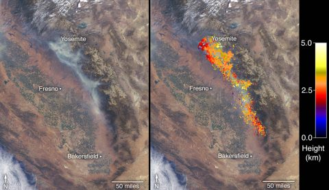 This image shows the Ferguson Fire near Yosemite National Park on July 29 as observed by NASA's MISR instrument. The angular information from MISR's images is used to calculate the height of the smoke plume. The results are superimposed on the image on the right. (NASA/GSFC/LaRC/JPL-Caltech, MISR Team)