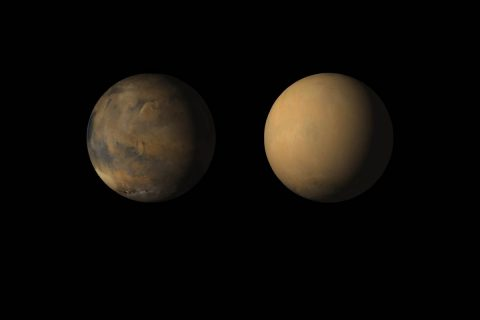 Side-by-side movies shows how dust has enveloped the Red Planet, courtesy of the Mars Color Imager (MARCI) wide-angle camera onboard NASA's Mars Reconnaissance Orbiter (MRO). (NASA/JPL-Caltech/MSSS)