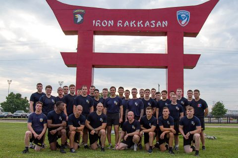 Secretary of the Army Dr. Mark T. Esper conducts physical training with 3rd Battalion, 187th Infantry Regiment, 3rd Brigade Combat Team, 101st Airborne Division (Air Assault), a unit he was a platoon leader in when he joined the Army on Fort Campbell, Ky, July 10th, 2018. Physical Fitness is a cornerstone of readiness and the 101st pushes boundaries and limitations every morning. (Sgt. Patrick Kirby, 40th Public Affairs Detachment)