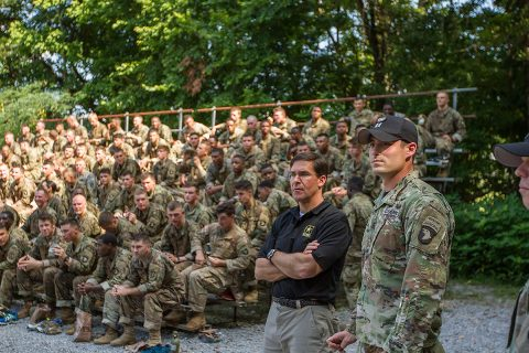 Secretary of the Army Dr. Mark T. Esper observes Soldiers as they maneuver through the air assault obstacle course at The Sabalauski Air Assault School July 10th, 2018 on Fort Campbell, Ky. The 101st Airborne Division (Air Assault) is the Army's only air assault division. Air assault gives the division unique capabilities of quick and precise infiltration and exfiltration methods. (Sgt. Patrick Kirby, 40th Public Affairs Detachment)