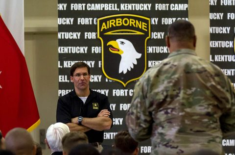 Secretary of the Army Dr. Mark T. Esper hosted a town hall for all Soldier's, spouses, and civilians on Fort Campbell, Ky, July 10th, 2018. About 150 people were in attendance and were able to directly ask the Secretary and questions they had. (Sgt. Patrick Kirby, 40th Public Affairs Detachment)