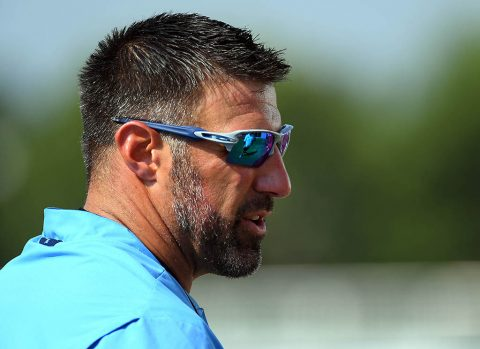 Tennessee Titans head coach Mike Vrabel during training camp at Saint Thomas Sports Park. (Christopher Hanewinckel-USA TODAY Sports)