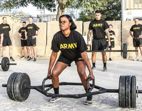 Senior leaders of the 101st Airborne Division (Air Assault) Resolute Support Sustainment Brigade participated in the Army Combat Fitness Test, Aug 14, 2018, on Bagram Airfield, Afghanistan. Master Sgt. Amy Prince participates in the dead lift event attempting to lift 280 pounds. (1st Lt. Verniccia Ford, 101st Airborne Division (AA) Sustainment Brigade Public Affairs)