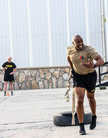 Command Sgt. Maj. Anthony McAdoo of the 101st Airborne Division (Air Assault) Resolute Support Sustainment Brigade participates in the sprint/drag/carry event for the Army Combat Fitness Test in Bagram, Afghanistan 14 August. (1st Lt. Verniccia Ford, 101st Airborne Division (AA) Sustainment Brigade Public Affairs)