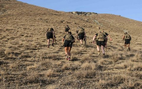 Soldiers participate in a spiritual resiliency hike at Camp Morehead, Afghanistan. (U.S Army Photo by Spc. Alexes Anderson)