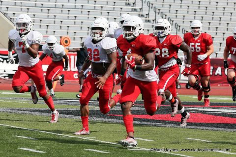 Austin Peay running back Tre Nation scampers 57 yards before being knocked out of bounds on the 1 yard line during scrimmage at Fortera Stadium.