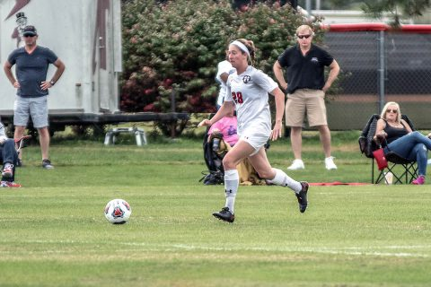 Austin Peay Women's Soccer power their way to 4-0 win over Alabama A&M Friday at Morgan Brothers Soccer Field. (APSU Sports Information)