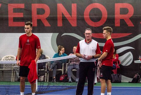 Austin Peay Men's Tennis Coach Ross Brown announces the team's 2018-19 season schedule. (APSU Sports Information)