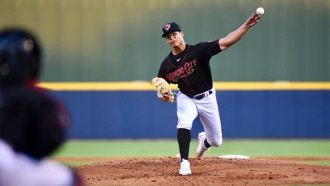 Nashville Sounds Lefty Jesus Luzardo Scatters Eight Hits and Strikes Out Six in Triple-A Debut. (Nashville Sounds)