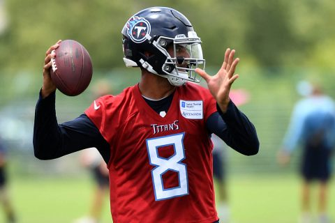 Tennessee Titans quarterback Marcus Mariota (8) passes the ball during minicamp at Saint Thomas Sports Park. (Christopher Hanewinckel-USA TODAY Sports)