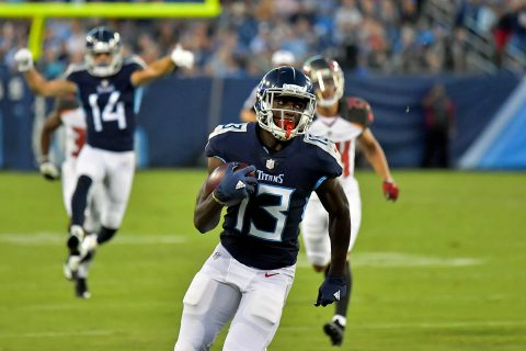 Tennessee Titans wide receiver Taywan Taylor (13) rushes for a touchdown against the Tampa Bay Buccaneers during the first half at Nissan Stadium. (Jim Brown-USA TODAY Sports)