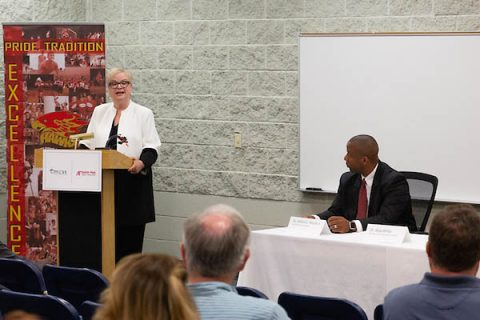 Austin Peay State University (APSU) President Alisa White and Clarksville-Montgomery County School System (CMCSS) Director of Schools Millard House announce a new partnership to provide Japanese and Korean.