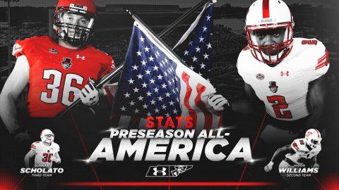 Austin Peay Football defensive end Jaison Williams and linebacker Gunnar Scholato Named STATS FCS Preseason All-America. (APSU)
