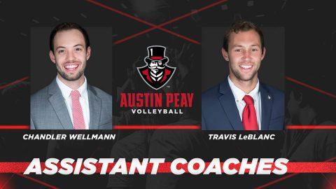 APSU Volleyball assistant coaches Travis LeBlanc, Chandler Wellmann. (APSU Sports Information)
