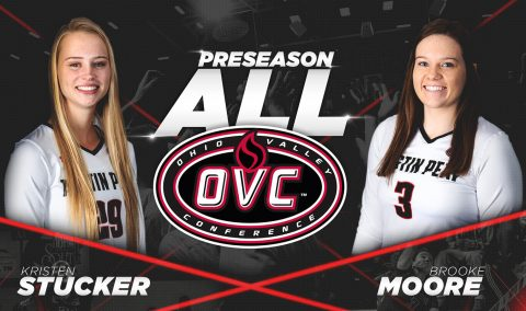 Austin Peay Volleyball's Kristen Stucker and Brooke Moore named to 2018 Preseason All-OVC Team. (APSU Sports Information)
