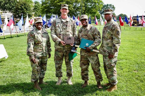 Regional Health Command-Atlantic Commander, Brig. Gen. Telita Crosland and Command Sgt. Maj. Diamond Hough, senior enlisted advisor, congratulate Capt. Brent Turpin, 2nd Brigade Combat Team, and Sgt Daryus Jenkins, 3rd Brigade Combat Team, as winners of the 2018 101st Airborne Division Best Medic Competition at Fort Campbell, KY. The two will represent the division during an Army-wide competition later this year. (U.S. Army photo by David Gillespie)
