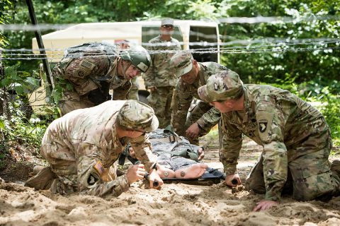 A team from Blanchfield Army Community Hospital and two Soldiers from the 101st Airborne Division (Air Assault) prevailed following three days of grueling competition to earn the title of the 2018 Regional Health Command-Atlantic - 101st Airborne Division Best Medic Competition Aug. 2, 2018. (U.S. Army Photo by David E. Gillespie)
