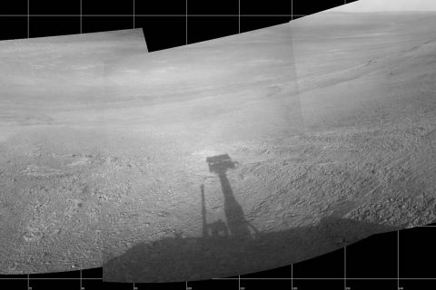 "About 11 months before the current dust storm enveloped the rover, Opportunity took five images that were turned into a mosaic showing a view from inside the upper end of ""Perseverance Valley"" on the inner slope of Endeavour Crater's western rim. The images were taken on July 7th, 2017. (NASA/JPL-Caltech)"