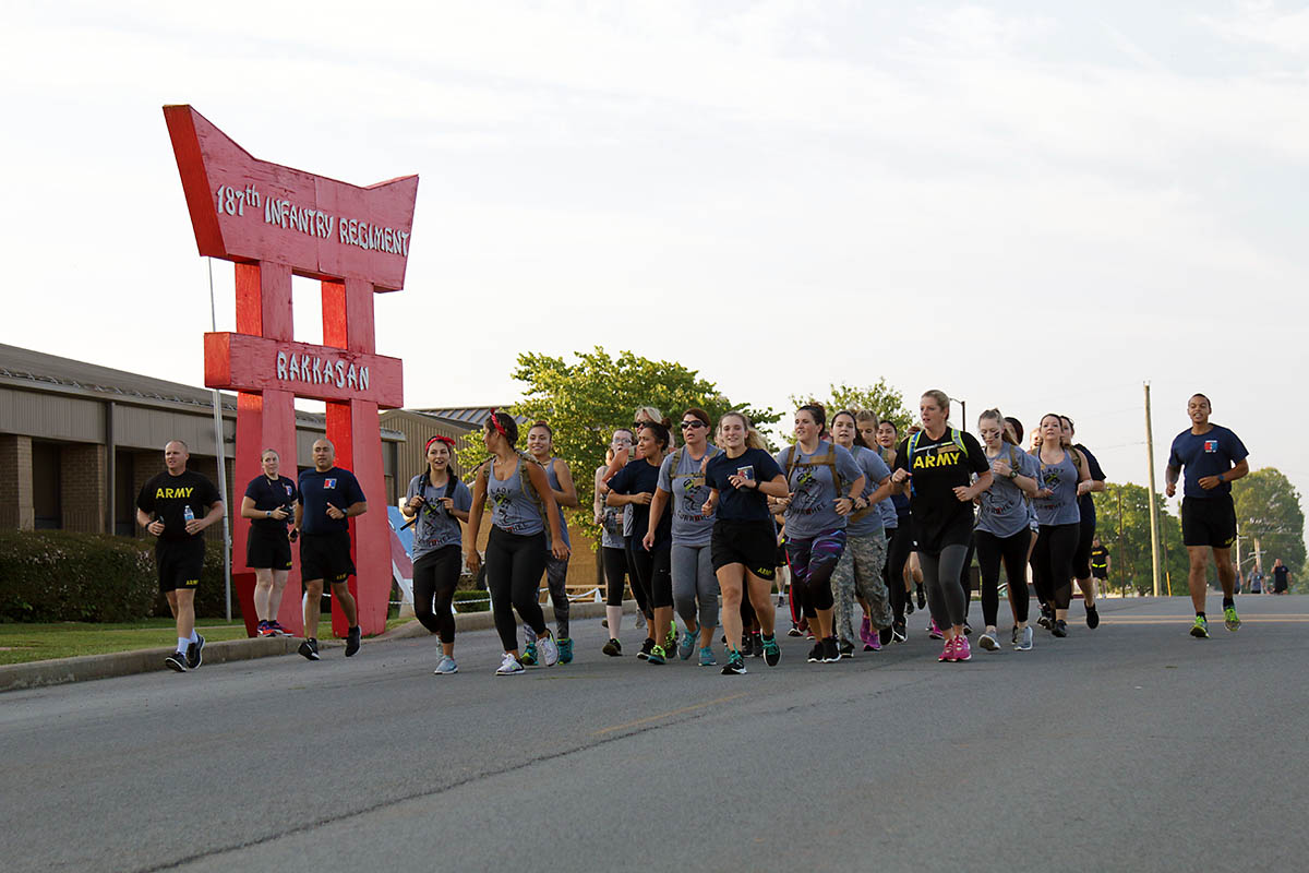 Spouses of 2nd Battalion, 506th Infantry Regiment, 3rd Brigade Combat Team, 101st Airborne Division (Air Assault) conducted the units first G.I. Jane Day PT run, August 6th, 2018, Fort Campbell, KY. G.I. (U.S. Army photo by Pfc. Beverly R. Mejia)