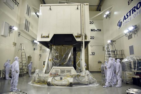 NASA's Ice, Cloud and land Elevation Satellite-2 (ICESat-2) spacecraft arrives at the Astrotech Space Operations facility at Vandenberg Air Force Base in California ahead of its scheduled launch on Sept. 15, 2018. (U.S. Air Force/Vanessa Valentine)