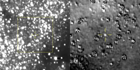 The figure on the left is a composite image produced by adding 48 different exposures from the News Horizons Long Range Reconnaissance Imager (LORRI), each with an exposure time of 29.967 seconds, taken on Aug. 16, 2018. The predicted position of the Kuiper Belt object nicknamed Ultima Thule is at the center of the yellow box, and is indicated by the yellow crosshairs, just above and left of a nearby star that is approximately 17 times brighter than Ultima. At right is a magnified view of the region in the yellow box. (NASA/JHUAPL/SwRI)