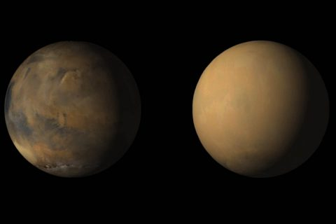 Side-by-side images shows how dust has enveloped the Red Planet, courtesy of the Mars Color Imager (MARCI) wide-angle camera onboard NASA's Mars Reconnaissance Orbiter (MRO). (NASA/JPL-Caltech/MSSS)