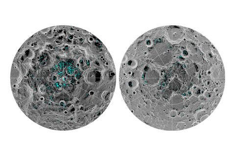 The image shows the distribution of surface ice at the Moon's south pole (left) and north pole (right), detected by NASA's Moon Mineralogy Mapper instrument. Blue represents the ice locations, plotted over an image of the lunar surface, where the gray scale corresponds to surface temperature (darker representing colder areas and lighter shades indicating warmer zones). (NASA)