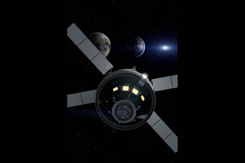 Artist rendering of NASA's Orion spacecraft as it travels 40,000 miles past the Moon during Exploration Mission-1, its first integrated flight with the Space Launch System rocket. (NASA)