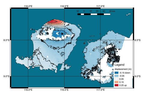 Scientists with NASA/Caltech's Advanced Rapid Imaging and Analysis project (ARIA) used new satellite data to produce a map of ground deformation on the resort island of Lombok, Indonesia following a deadly, 6.9 magnitude earthquake on August 5th. (NASA/JPL-Caltech/Copernicus/ESA)