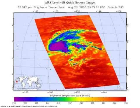 This image shows Hurricane Lane as observed by the Atmospheric Infrared Sounder (AIRS) instrument on NASA's Aqua satellite on Thursday, August 23rd. (NASA/JPL-Caltech)