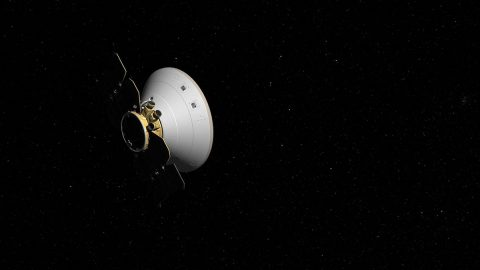 This artist's concept shows the InSight spacecraft, encapsulated in its aeroshell, as it cruises to Mars. (NASA/JPL-Caltech)