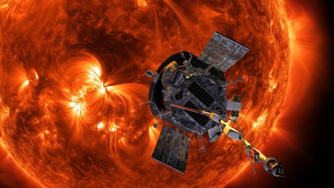 Illustration of NASA's Parker Solar Probe approaching the Sun. (NASA/Johns Hopkins APL/Steve Gribben)