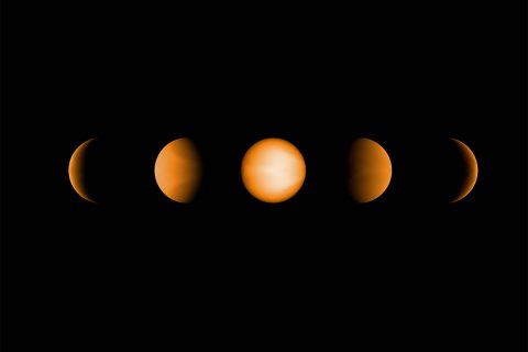 These simulated views of the ultrahot Jupiter WASP-121b show what the planet might look like to the human eye from five different vantage points, illuminated to different degrees by its parent star. The images were created using a computer simulation being used to help scientists understand the atmospheres of these ultra-hot planets. (NASA/JPL-Caltech/Vivien Parmentier/Aix-Marseille University (AMU))