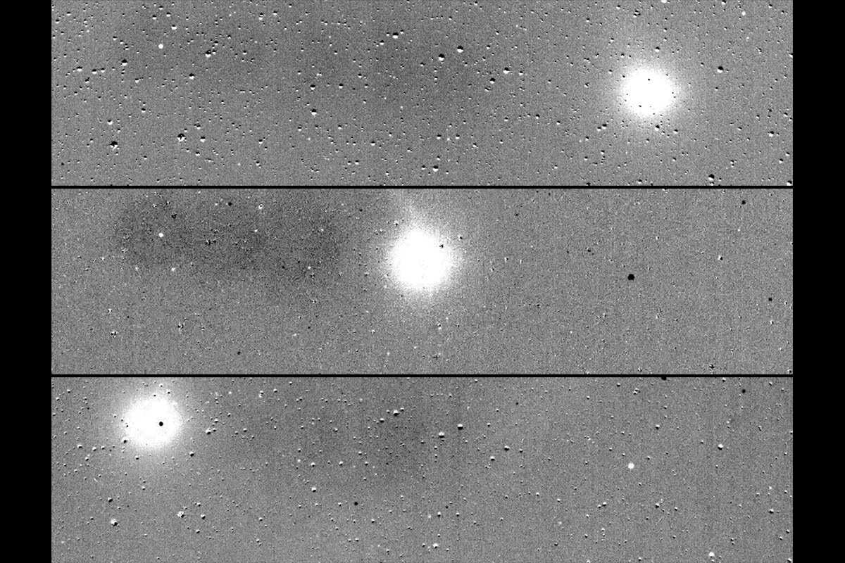 These three images are from a sequence compiled from a series of images taken on July 25th by the Transiting Exoplanet Survey Satellite. The angular extent of the widest field of view is six degrees. Visible in the images are the comet C/2018 N1, asteroids, variable stars, asteroids and reflected light from Mars. TESS is expected to find thousands of planets around other nearby stars. (Massachusetts Institute of Technology/NASA's Goddard Space Flight Center)