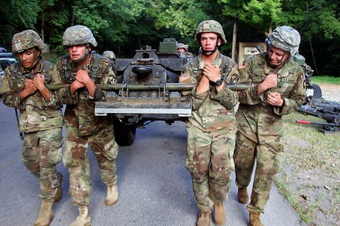 Reserve Officer Training Corps and United States Military Academy cadets tow a M119 howitzer during a six-lane physical training course Aug. 8 on Fort Campbell, Kentucky. (Pfc. Lynnwood Thomas, 40th Public Affairs Detachment)