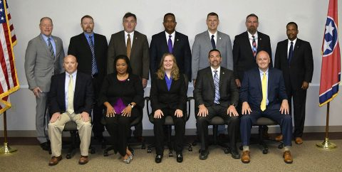 (Back row, L to R) TBI Director David Rausch, Tony Hall – Rutherford County Sheriff's Office, Mark Lewis – TBI, Terry Reed – TBI, Brian Crews – Shelbyville Police Department, Jim Williams – TBI, TBI Training Assistant Director Richard Moore. (Front row, L to R) Gary Bean – Morristown Police Department, Donna Nelson – TBI, Tara Beauchamp – UT Martin Department of Public Safety, Josh Savley - TBI, Christopher Golden – Bartlett Police Department.