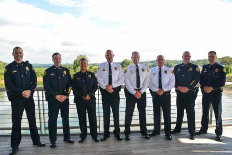 (L-R) Capt Thornton, Capt Stalder, Capt Wilson, DC Crockarell, Chief Ansley, DC Parr, Capt Smith, and Capt Burdine.