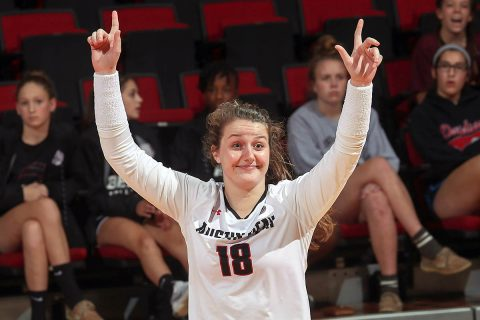 Austin Peay Women's Volleyball sophomore Caroline Waite had 6 assists and a service ace in Govs win over Alabama A&M Tuesday night. (Robert Smith, APSU Sports Information)