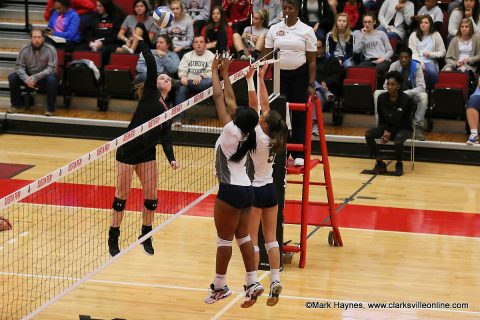 Austin Peay Women's Volleyball sophomore Brooke Moore has 11 kills and 12 digs in win over Southeast Missouri Friday night. (APSU Sports Information)